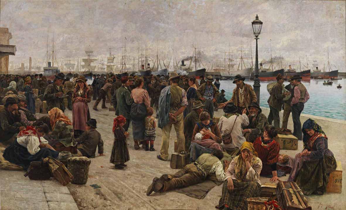 Angiolo Tommasi: Emigranti (1896. Roma, Galleria Nazionale d'Arte Moderna e Contemporanea)