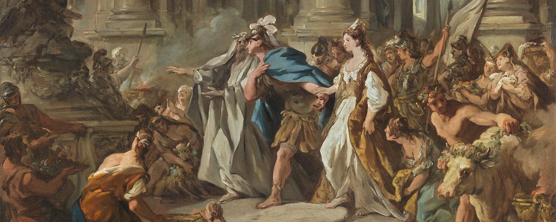"""Particolare di Giasone e Medea nel tempio di Giove"""" di Jean François de Troy (© Museo Nacional Thyssen-Bornemisza, Madrid)"""