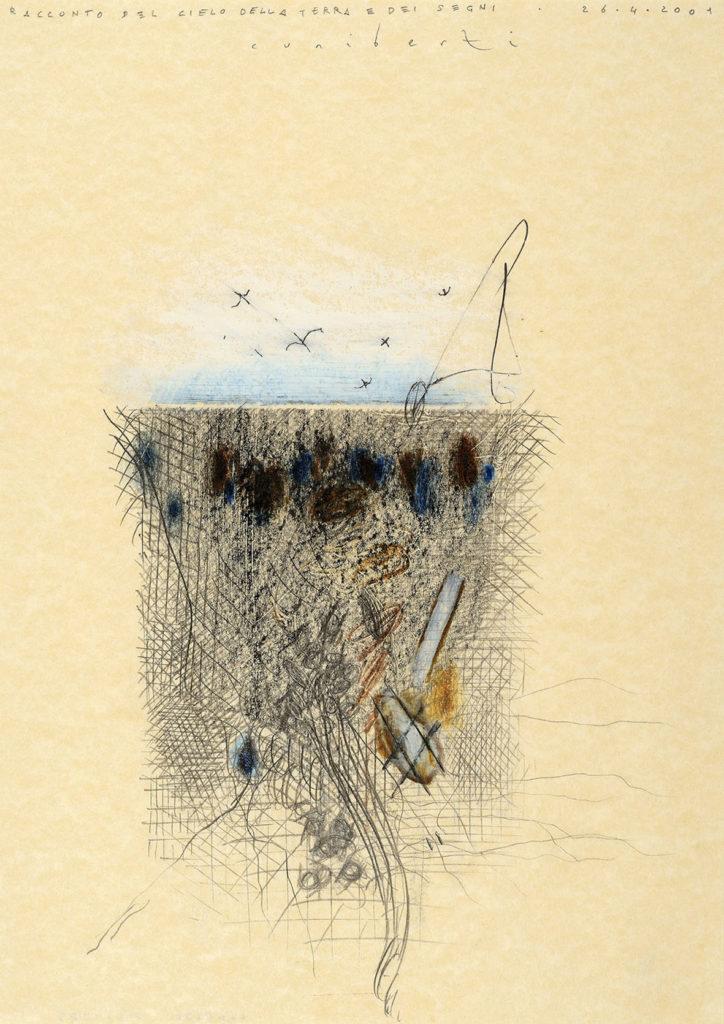 """Pirro Cuniberti, """"Racconto del cielo della terra e dei segni"""" (tecnica mista, 29,6x 21 - Courtesy Galleria d'Arte Maggiore G.A.M., Bologna - foto Michele Sereni, Pesaro)"""