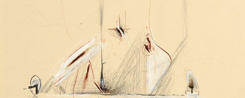 """Particolare di """"Quel giardino ricusato dalle viole"""" di Pirro Cuniberti (tecnica mista, 29,6x21 - Courtesy Galleria d'Arte Maggiore G.A.M., Bologna - foto Michele Sereni, Pesaro)"""