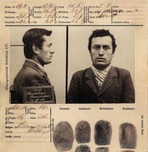 Foto segnaletica di Benito Mussolino, arrestato in Svizzera nel 1903