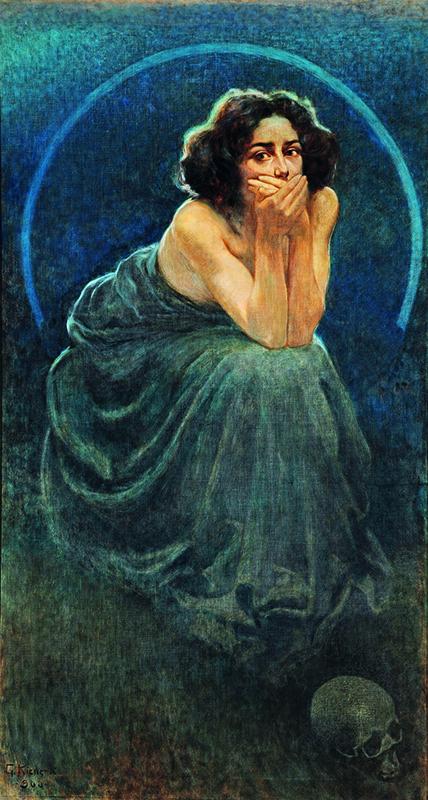 Giorgio Kienerk, Il Silenzio (pannello centrale del trittico L'enigma umano)