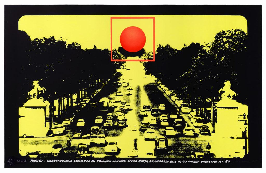 Filippo Panseca, Progetto per monumento biodegradabile, 1976, tela emulsionata e smalto