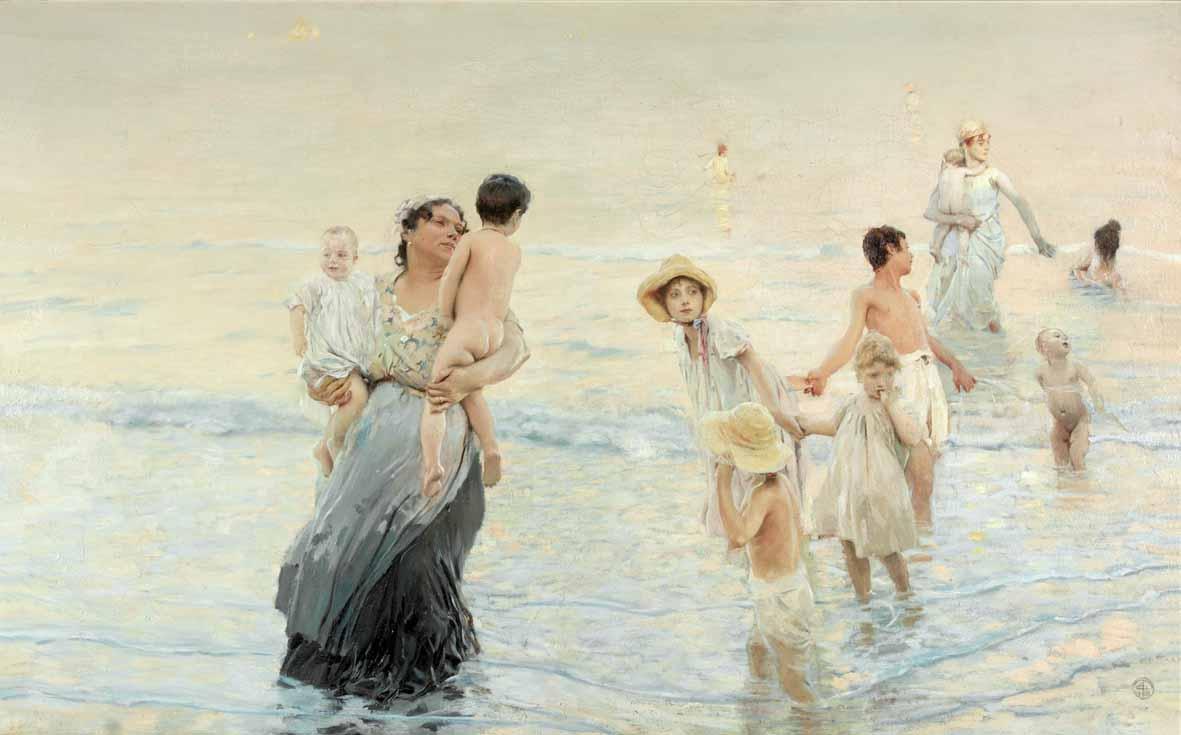 Ettore Tito: Luglio (Sulla spiaggia)