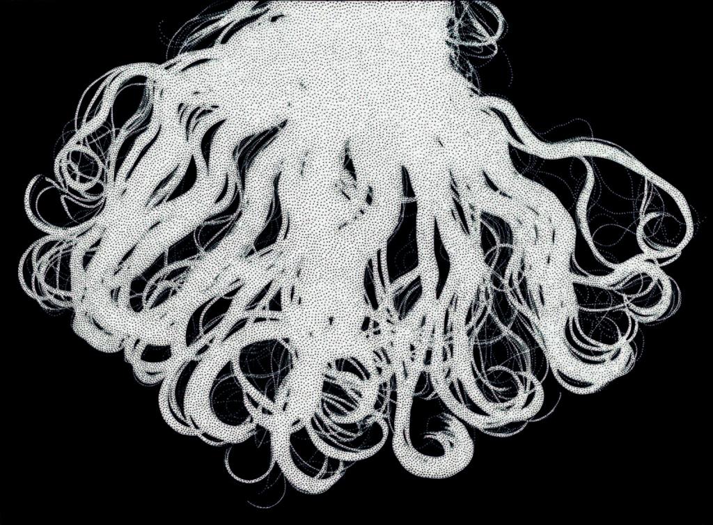 Chevelure, (2016 fotogramma e spilli in acciaio inox, cm 97 x 72)