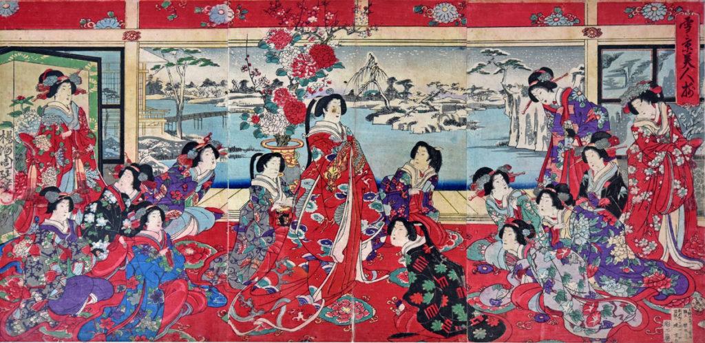 Yoshu Chinkanobu, Passatempi di beltà femminili in un giorno nevoso (trittico di xilografie policrome 1838-1912)