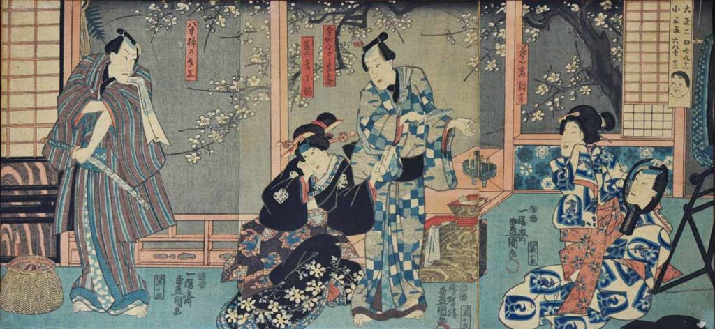 Yoshu Chinkanobu, Scena di teatro kabuki (xilografia policroma 1838-1912)