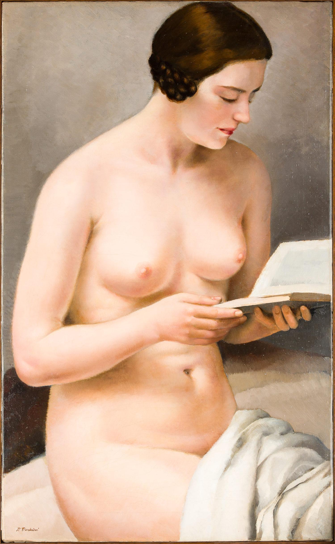 Francesco Trombadori Fanciulla nuda che legge 1929 Olio su tela 85 x 52 cm Collezione privata