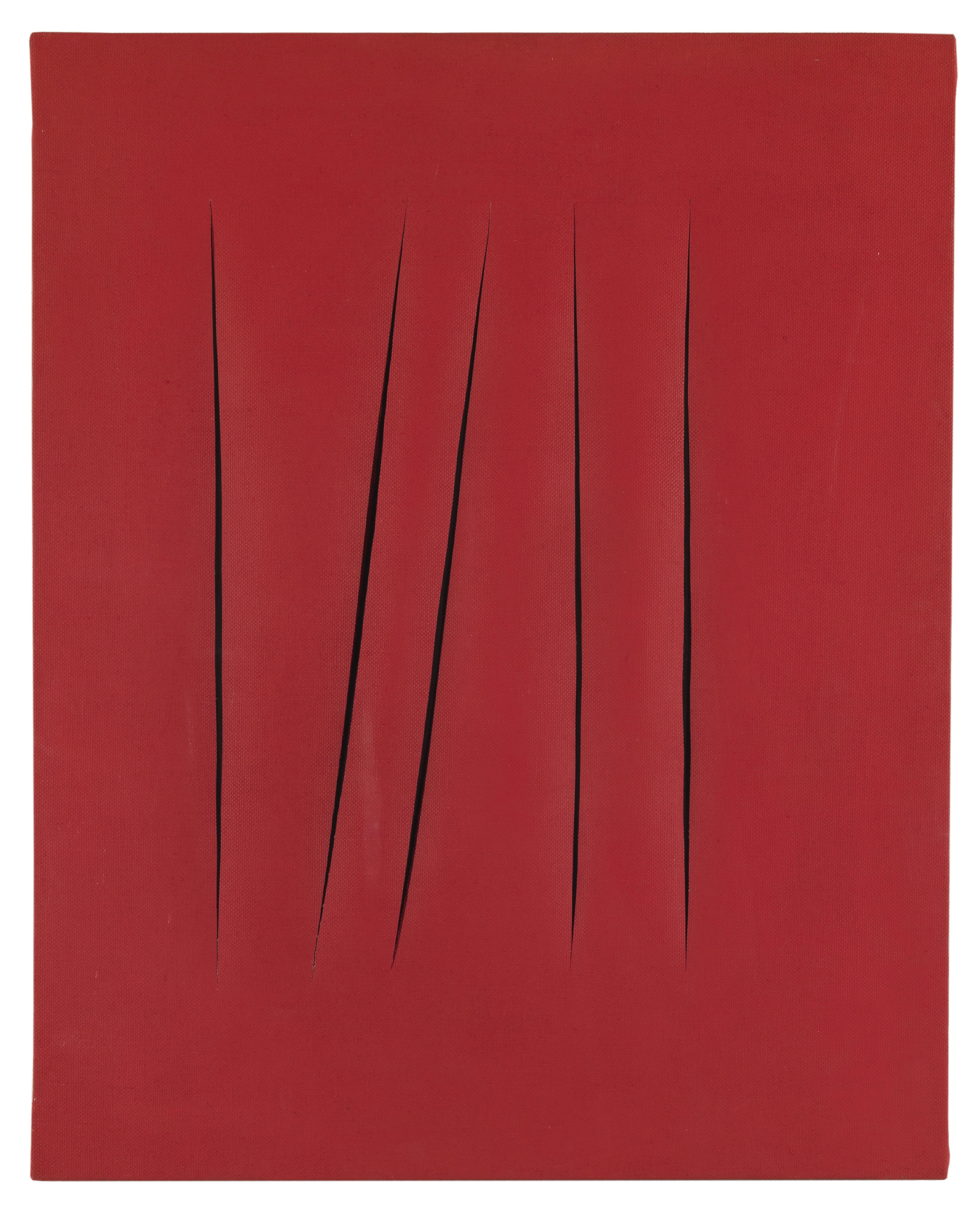 Lucio Fontana Concetto spaziale. Attese 1967 Idropittura su tela 81 x 65 cm Collezione privata, courtesy Galleria Mucciaccia