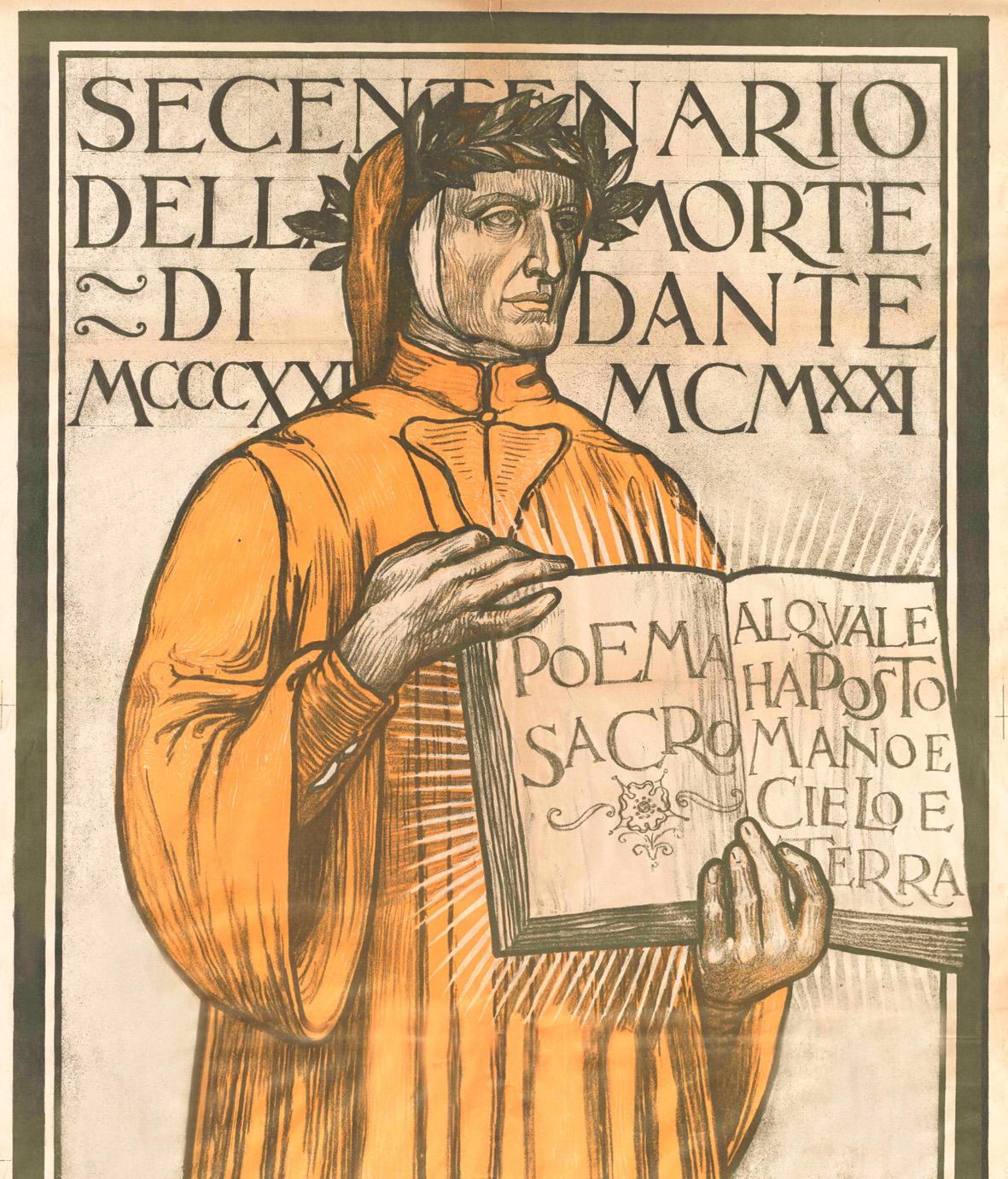 Galileo Chini, Secentenario della morte di Dante Alighieri 1321-1921, manifesto ufficiale delle celebrazioni, dettaglio